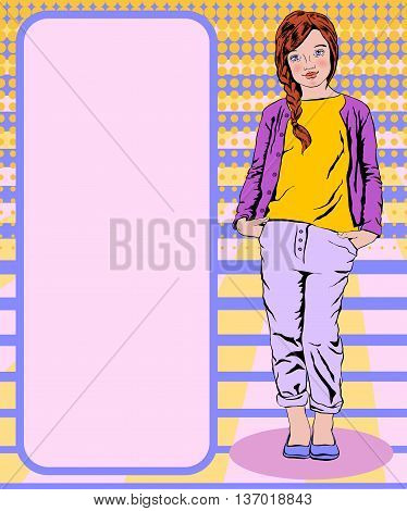 girl with red hair in a yellow T-shirt and a purple jacket purple pants stands in the background in the style of pop art
