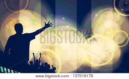 Concert. People with hands up having fun. Vintage style illustration