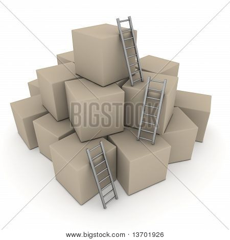 Batch Of Boxes - Climb Up With Glossy Grey Ladders