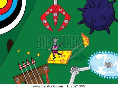 mouse trap technology rodent control concept vector illustration
