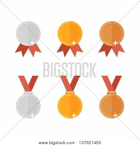 set of golden bronze and silver medals executed in flat style. High quality vector illustration