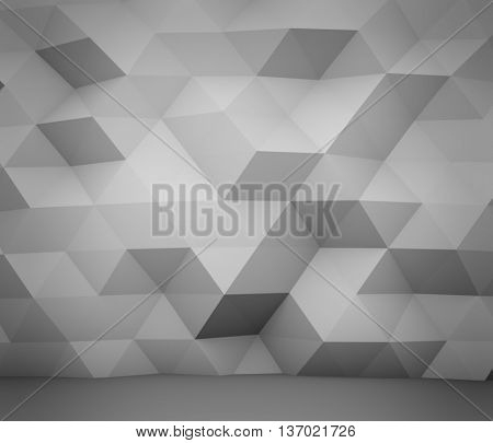 Abstract white polygon wall 3D rendering background.
