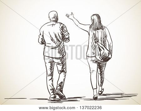 Sketch of walking couple, Hand drawn illustration