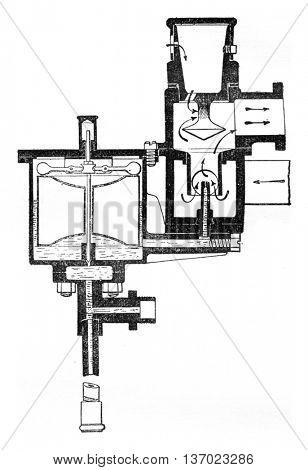 Carburetor spray, vintage engraved illustration. Industrial encyclopedia E.-O. Lami - 1875.