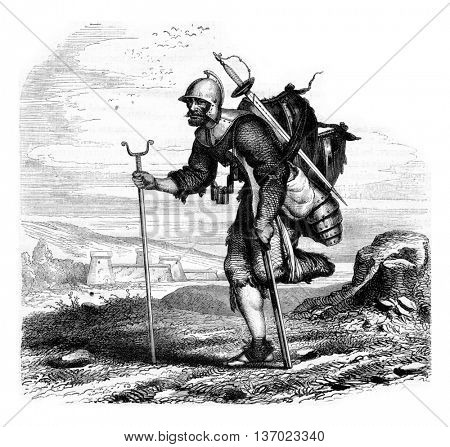 Wounded soldier returning from the war. Engraving by J.M. Metelli. Drawing by Hernault. From Magasin Pittoresque, vintage engraving, 1867.