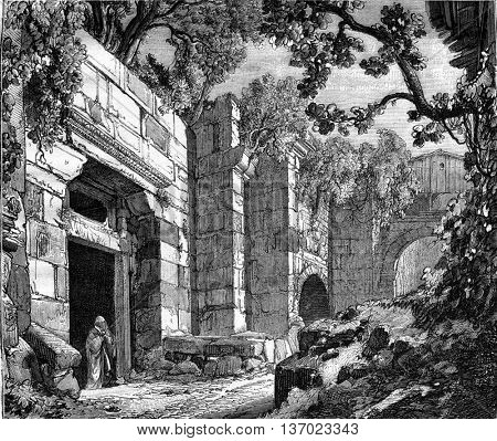 Amasserah standing by a door in the Acropolis in Athens, Greece. Drawing Jules Laurens. From Magasin Pittoresque, vintage engraving, 1876.