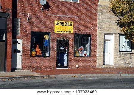 JOLIET, ILLINOIS / UNITED STATES - NOVEMBER 1, 2015: Las Tres Chelas offers retail and wholesale products in downtown Joliet.