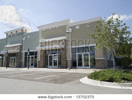 Empty Pastel Strip Mall