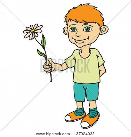 The little boy with the flower.