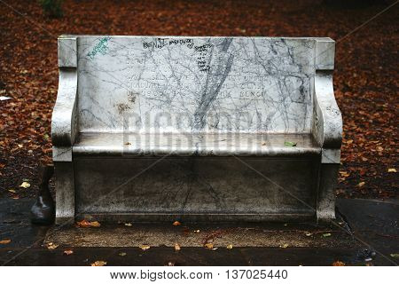 BERKELEY, UNITED STATES - DECEMBER 21: A bench with a memorial inscription for the former president of the University of Berkeley Benjamin Ide Wheeler on December 21, 2015 in Berkeley.