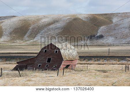 An old red barn on the North Dakota Prairie