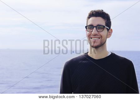 Portrait Of Latin Man By The Ocean