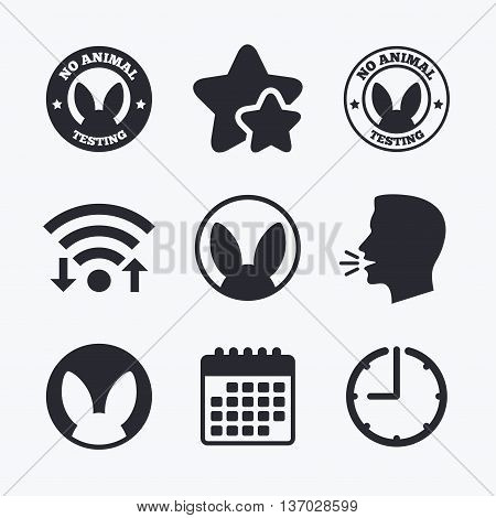 No animals testing icons. Non-human experiments signs symbols. Wifi internet, favorite stars, calendar and clock. Talking head. Vector