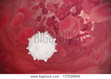 Red and white blood cells flowing through veins. Scientific and medical concept, 3d illustration