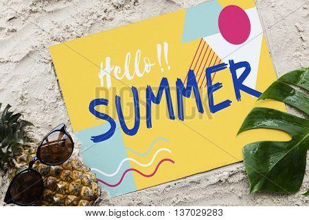 Summer Beach Pineapple Words Sunglasses Concept