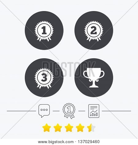 First, second and third place icons. Award medals sign symbols. Prize cup for winner. Chat, award medal and report linear icons. Star vote ranking. Vector