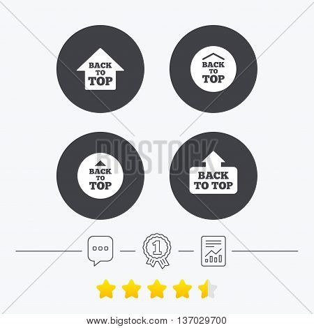 Back to top icons. Scroll up with arrow sign symbols. Chat, award medal and report linear icons. Star vote ranking. Vector