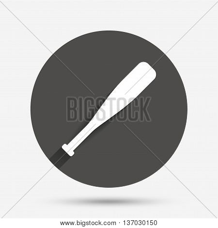 Baseball bat sign icon. Sport hit equipment symbol. Circle flat button with shadow. Vector