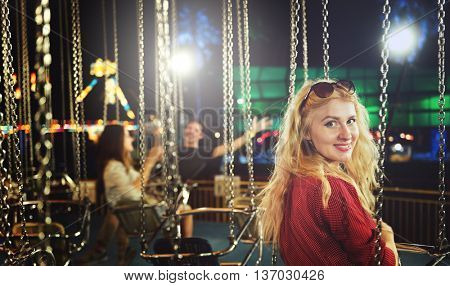 Woman Carnival Ride Happiness Fun Concept