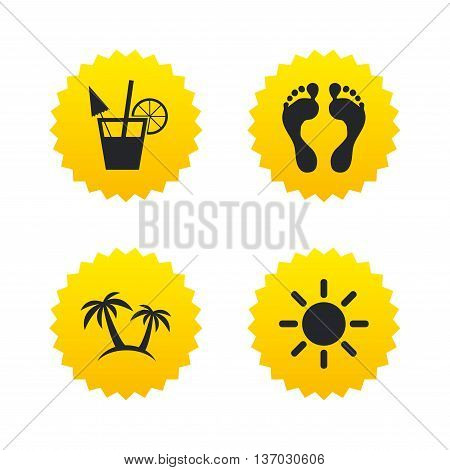 Beach holidays icons. Cocktail, human footprints and palm trees signs. Summer sun symbol. Yellow stars labels with flat icons. Vector