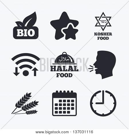 Natural Bio food icons. Halal and Kosher signs. Gluten free and star of David symbols. Wifi internet, favorite stars, calendar and clock. Talking head. Vector