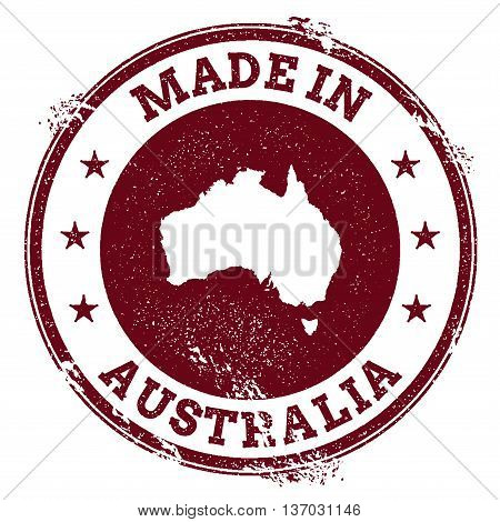 Australia Vector Seal. Vintage Country Map Stamp. Grunge Rubber Stamp With Made In Australia Text An