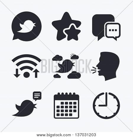 Birds icons. Social media speech bubble. Short messages chat symbol. Wifi internet, favorite stars, calendar and clock. Talking head. Vector