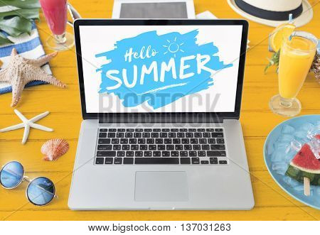 Summer Starfish Laptop Vacation Concept