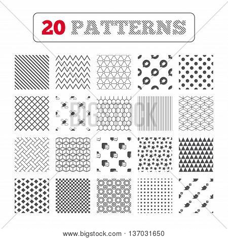 Ornament patterns, diagonal stripes and stars. Birds icons. Social media speech bubble. Chat bubble with three dots symbol. Geometric textures. Vector