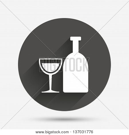 Alcohol sign icon. Drink symbol. Bottle with glass. Circle flat button with shadow. Vector