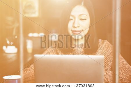 Beautiful Woman Home Office Lifestyle Concept