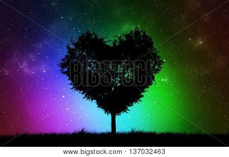 background from the stars  and  silhouette of the tree with shape of heart
