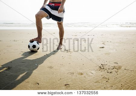 Football Beach Playful Vacation Leisure Activity Concept
