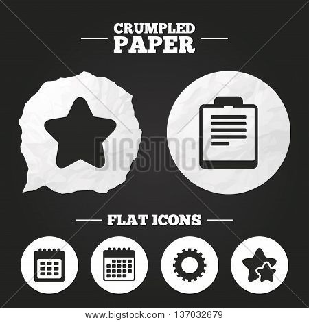 Crumpled paper speech bubble. Calendar and Star favorite icons. Checklist and cogwheel gear sign symbols. Paper button. Vector