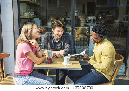 Friends Friendship Coffee Cafe Smiling Concept