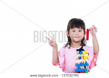 Child Playing Toy Wood Blocks, Isolated On White Background.