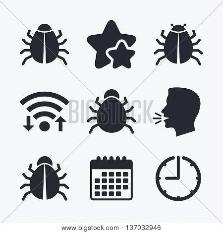 Bugs vaccination icons. Virus software error sign symbols. Wifi internet, favorite stars, calendar and clock. Talking head. Vector