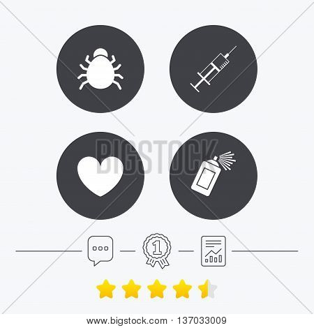 Bug and vaccine syringe injection icons. Heart and spray can sign symbols. Chat, award medal and report linear icons. Star vote ranking. Vector