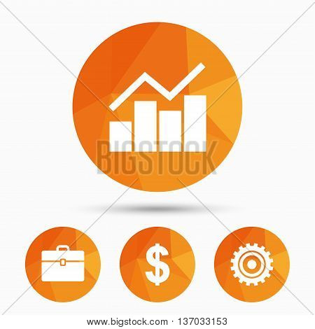 Business icons. Graph chart and case signs. Dollar currency and gear cogwheel symbols. Triangular low poly buttons with shadow. Vector