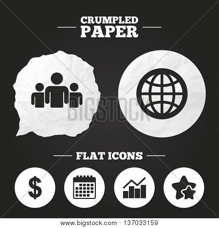Crumpled paper speech bubble. Business icons. Graph chart and globe signs. Dollar currency and group of people symbols. Paper button. Vector