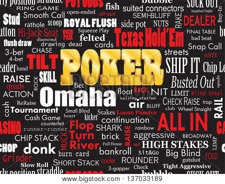 Poker Word Cloud with Industry Vernacular Seamless over Black