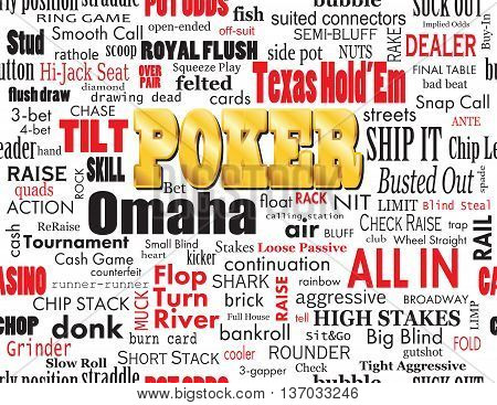 Poker Word Cloud with Industry Vernacular Seamless over White