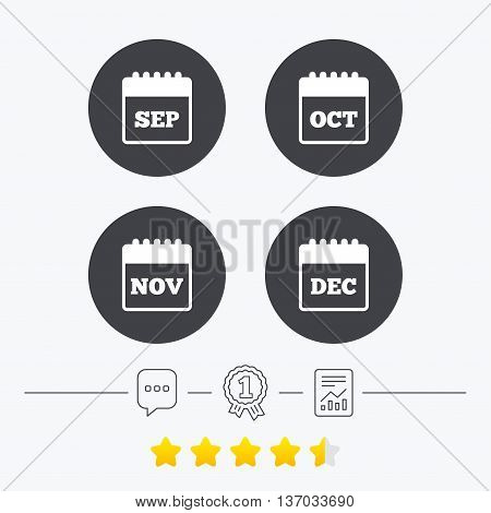 Calendar icons. September, November, October and December month symbols. Date or event reminder sign. Chat, award medal and report linear icons. Star vote ranking. Vector