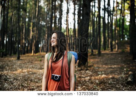 Camping Camera Walking Nature Photo Concept