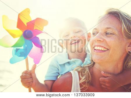 Mother Son Fun Relaxation Family Bonding Concept