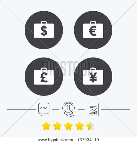 Businessman case icons. Cash money diplomat signs. Dollar, euro and pound symbols. Chat, award medal and report linear icons. Star vote ranking. Vector