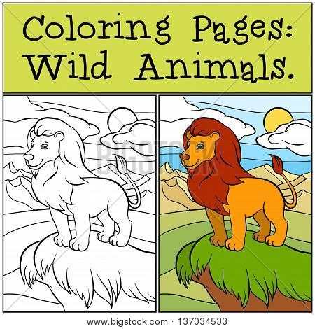 Coloring Pages: Wild Animals. Cute Beautiful Lion Stands On The Hill And Smiles.