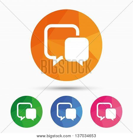 Chat sign icon. Speech bubble symbol. Communication chat bubble. Triangular low poly button with flat icon. Vector