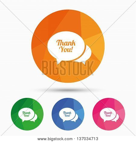 Speech bubble thank you sign icon. Customer service symbol. Triangular low poly button with flat icon. Vector