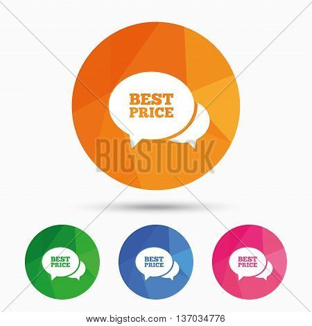 Speech bubble best price sign icon. Special offer symbol. Triangular low poly button with flat icon. Vector
